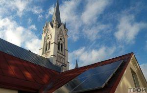 На прыбудове да гродзенскай кірхi ўсталявалі сонечныя батарэі