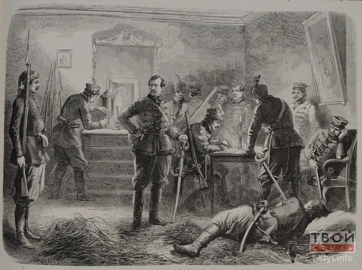 Паўстанец на заднім плане налівае сабе кіпень з самавара