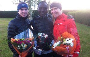 Гродзенскiя дзяўчаты з Негаса Чалту Дзiда з Кеніі, якая выйграла марафон за 1:18,04
