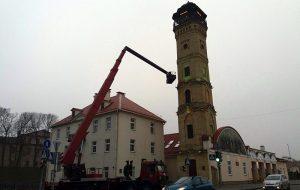Гродзенскія ратавальнікі пачалі ўпрыгожваць пажарную вежу