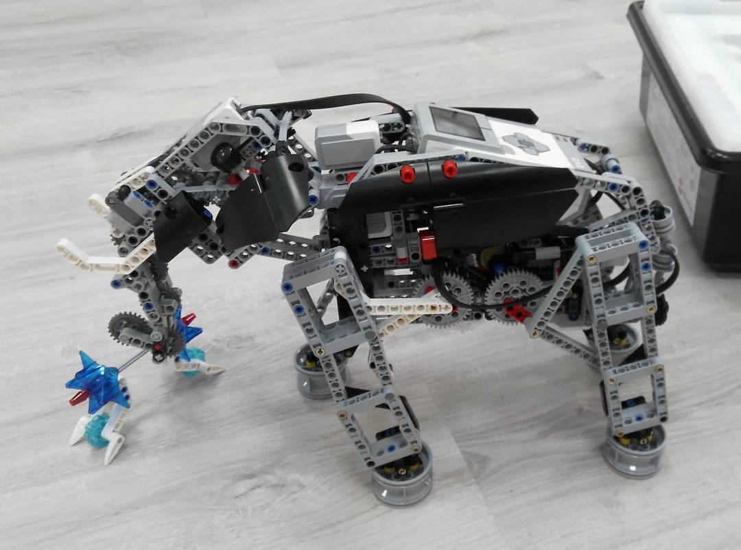 Такіх Lego-робатаў будуць збіраць і праграмаваць дзеці. Робат-слон умее хадзіць і браць хобатам костку.