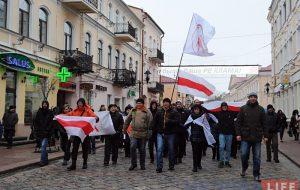 На фота - акцыя супраць дэкрэту аб дармаедах, што прайшла ў Гродне 19 лютага.