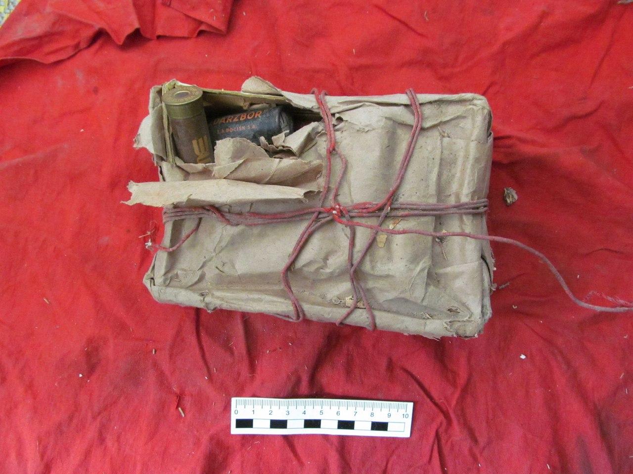 На гарышчы дома ў цэнтры Гродна знайшлі зброю загорнутую ў сцяг са свастыкай