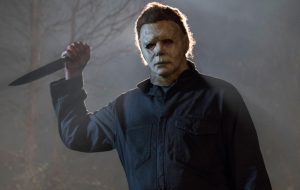 "Masked killer Michael Myers (Jim Courtney) in ""Halloween."" Jamie Lee Curtis returns to her iconic role as Laurie Strode, who comes to her final confrontation with Michael Myers, the masked figure who has haunted her since she narrowly escaped his killing spree on Halloween night four decades ago."