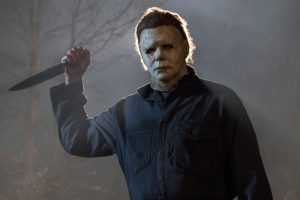 """Masked killer Michael Myers (Jim Courtney) in """"Halloween."""" Jamie Lee Curtis returns to her iconic role as Laurie Strode, who comes to her final confrontation with Michael Myers, the masked figure who has haunted her since she narrowly escaped his killing spree on Halloween night four decades ago."""