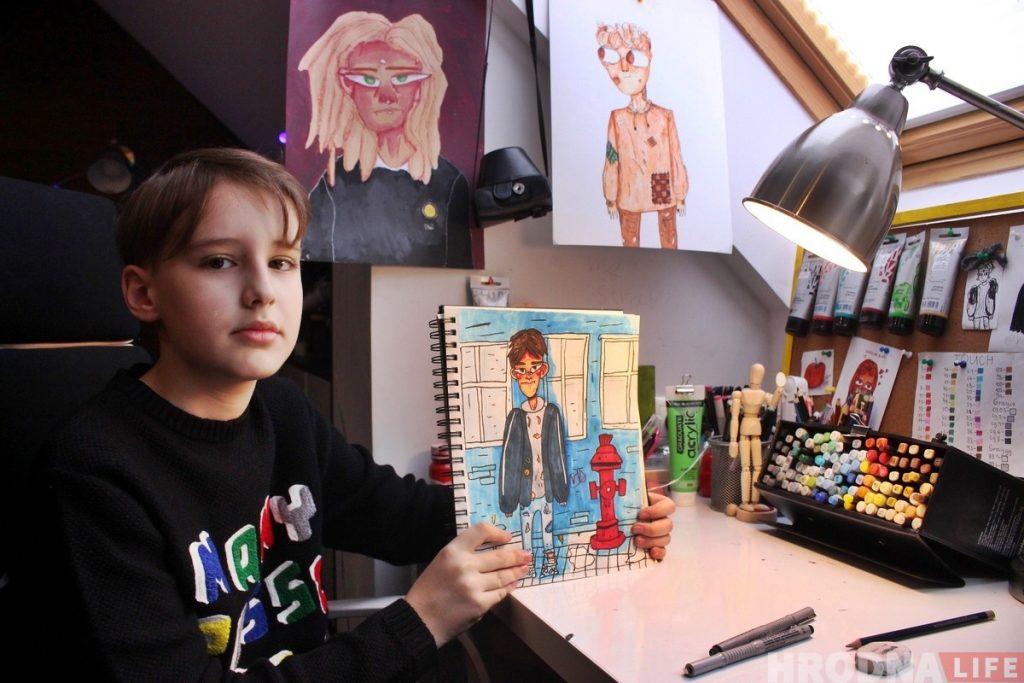 """""""Хочу быть иллюстратором"""". 9-летний гродненец удивляет всех своими стильными рисунками"""