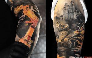 «Смело сражались». Поляк приехал в Гродно делать татуировку посвященную обороне города в 1939 году