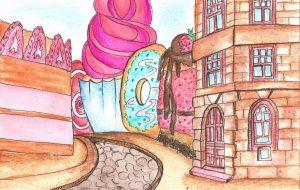 Старый замок - пирог, драмтеатр - паста. Иллюстраторка Альфа-Банка показала Гродно в виде еды