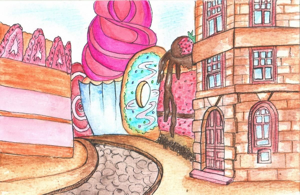 Стары замак - пірог, драмтэатр - паста. Ілюстратарка Альфа-Банка паказала Гродна ў выглядзе ежы