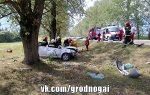 Под Слонимом семь подростков перевернулись на машине. 16-летний водитель серьезно пострадал