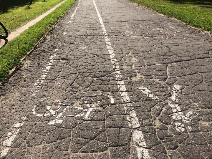 Велодорожка наБЛК. Поней неточто неудобно ездить навелосипеде— даже ходить!