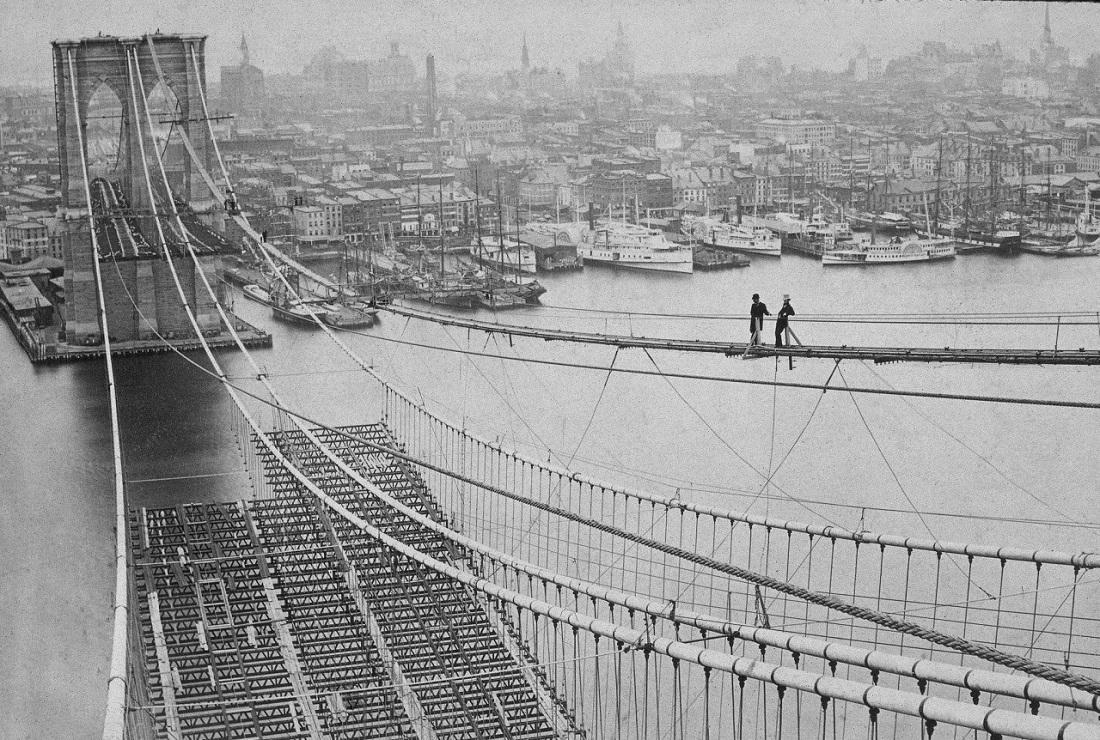 Строительство Бруклинского моста, вторая половина 19 века