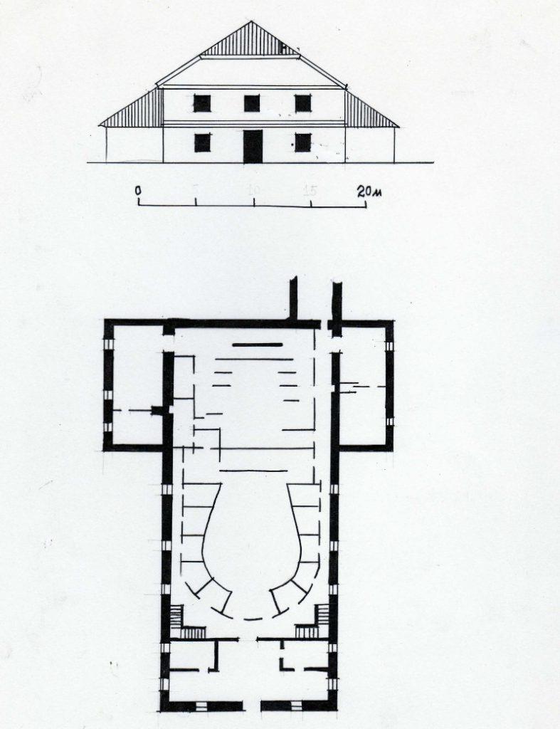 Тэатр Тызенгаўза к. 18 ст. Галоўны фасад і план