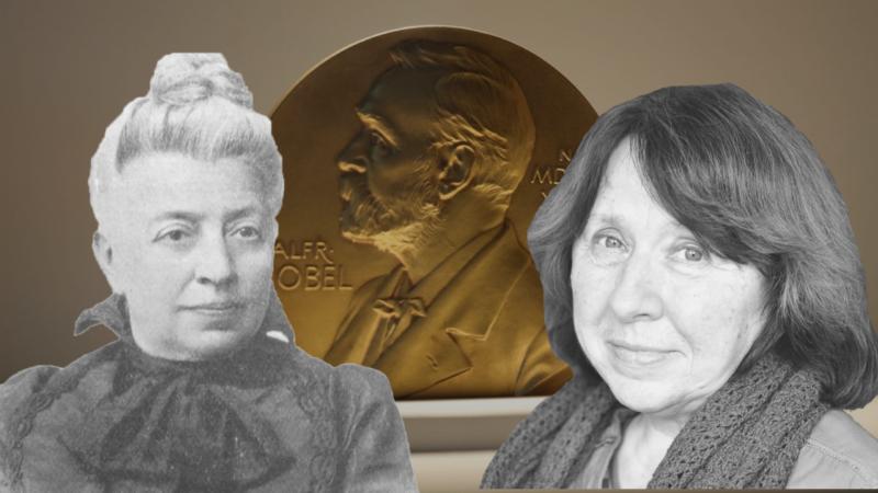 Беларускія намінанткі на Нобелеўскую прэмію Эліза Ажэшка і Святлана Алексіевіч