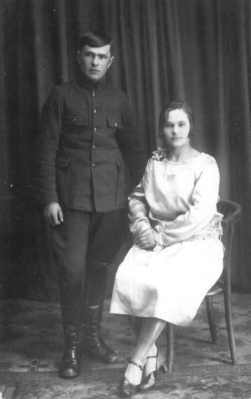 Дзядуля і бабуля Марыны Загідулінай Міхаіл і Антаніна Пяткевічы, 1928 г.