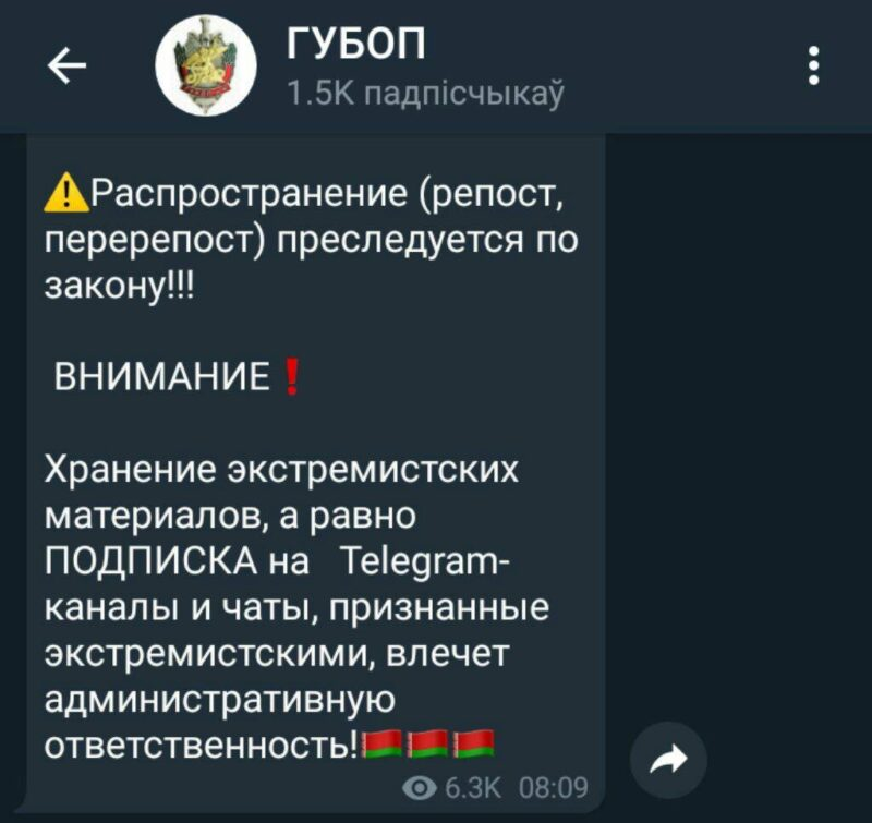 ГУБОПиК: за подписку на экстремистские Telegram-каналы и чаты можно будет привлечь к ответственности